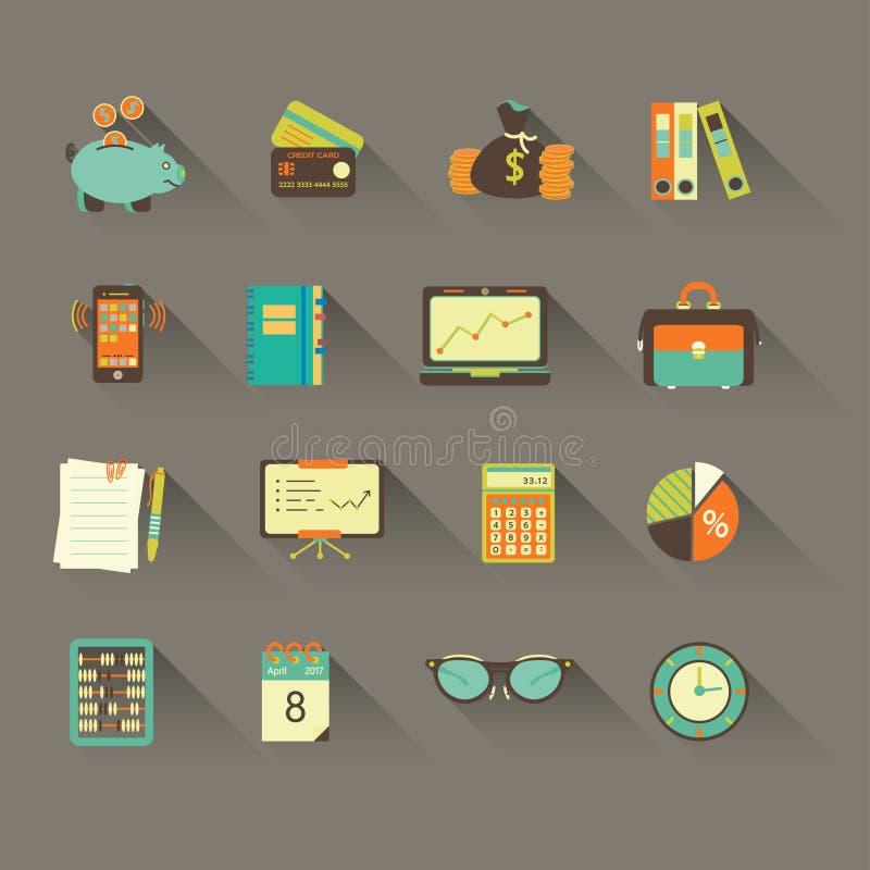 Iconos planos del vector de la contabilidad ilustración del vector