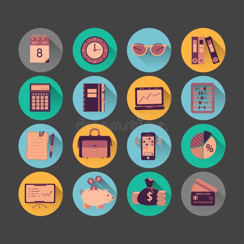 Iconos planos del vector de la contabilidad stock de ilustración