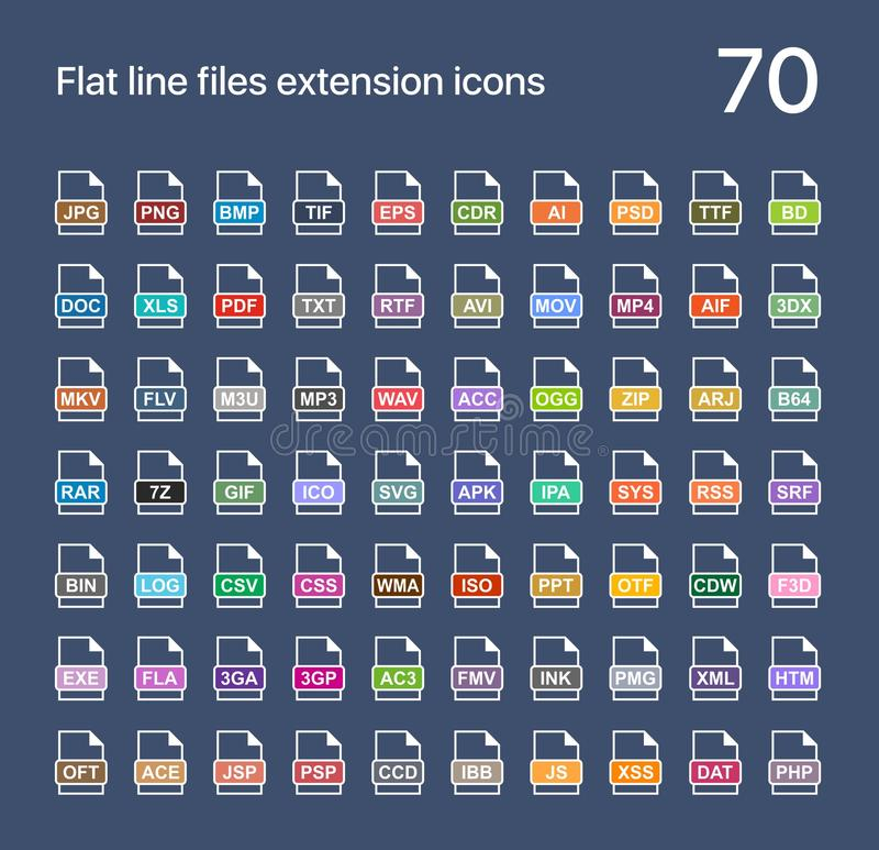 Iconos planos del vector de la extensión de archivo Extensiones del sonido, del gráfico, del archivo, de la imagen, del documento stock de ilustración