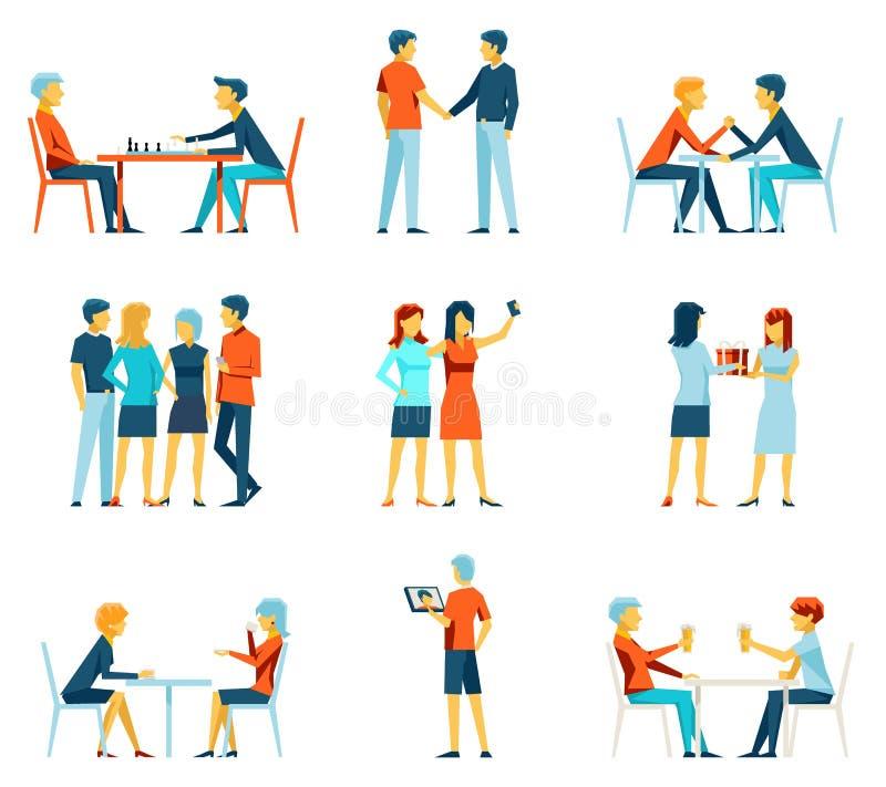 Iconos planos del vector de la fraternidad de la amistad fijados stock de ilustración
