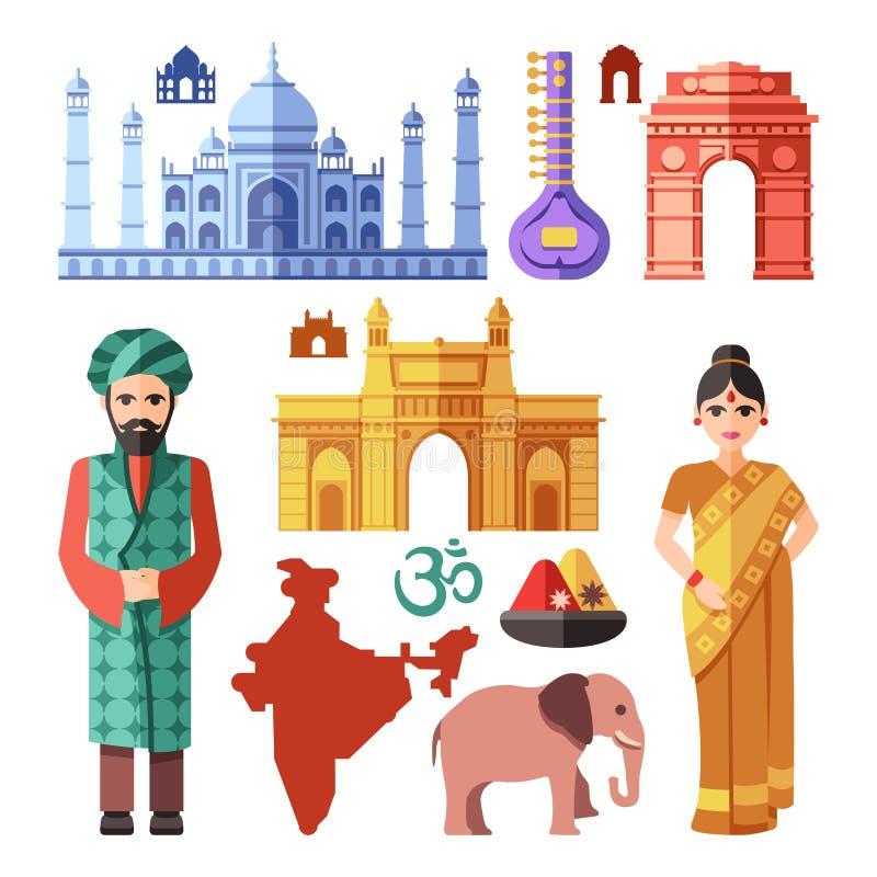 Iconos planos del vector de la India con las señales nacionales para el concepto que viaja libre illustration