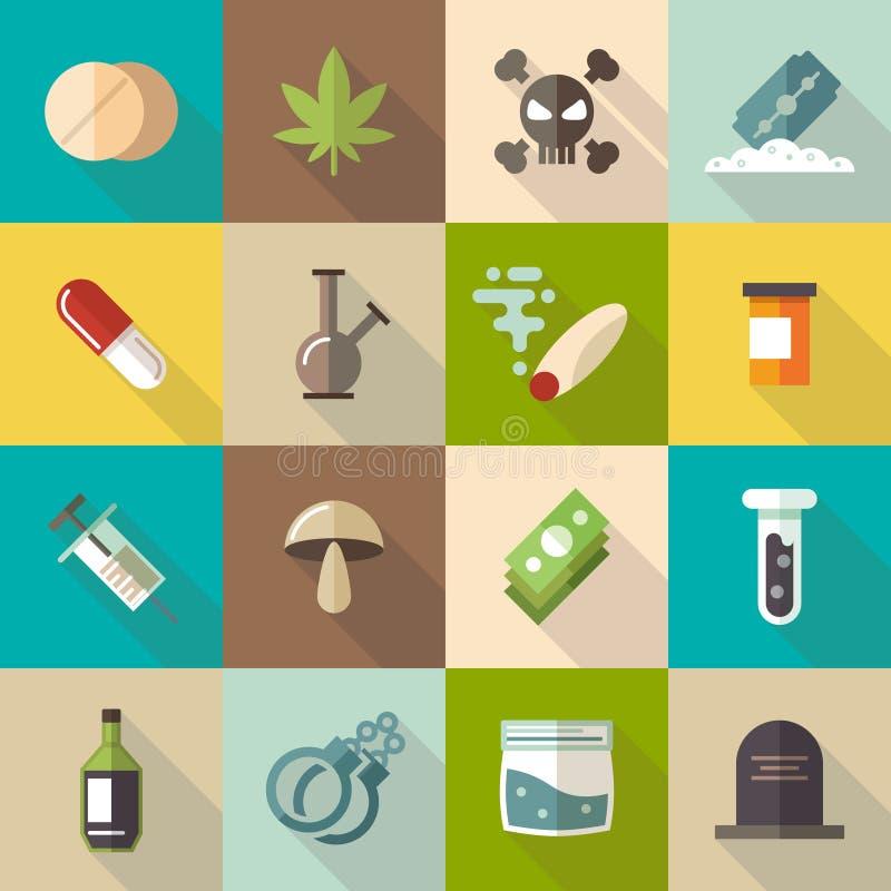 Iconos planos del vector de las drogas fijados ilustración del vector