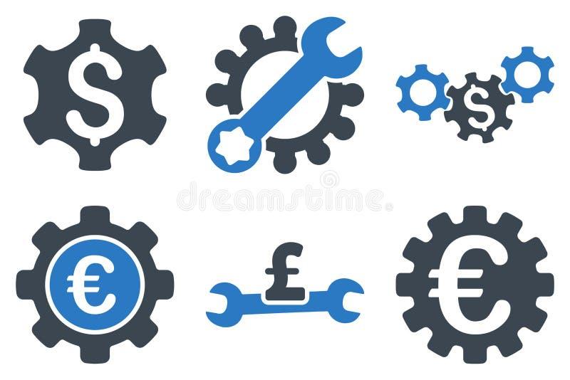 Iconos planos del vector de los ajustes financieros ilustración del vector