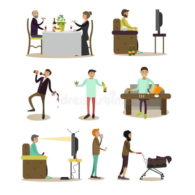Iconos planos del vector del sistema de la gente de los malos hábitos ilustración del vector