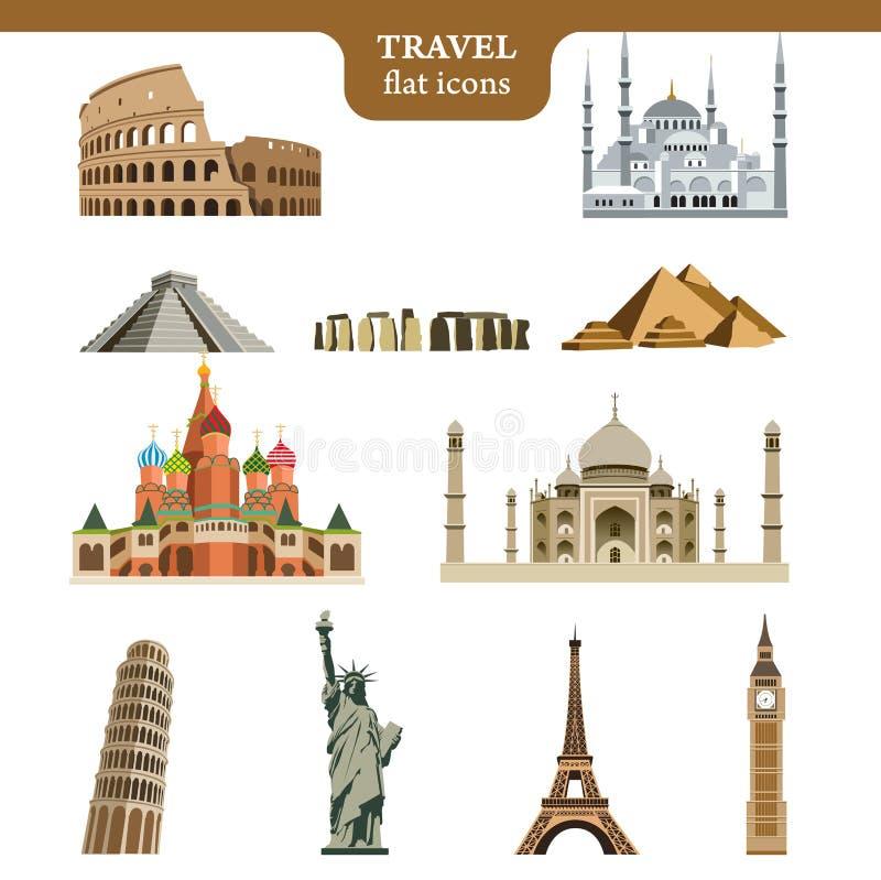 Iconos planos del vector del viaje fijados libre illustration
