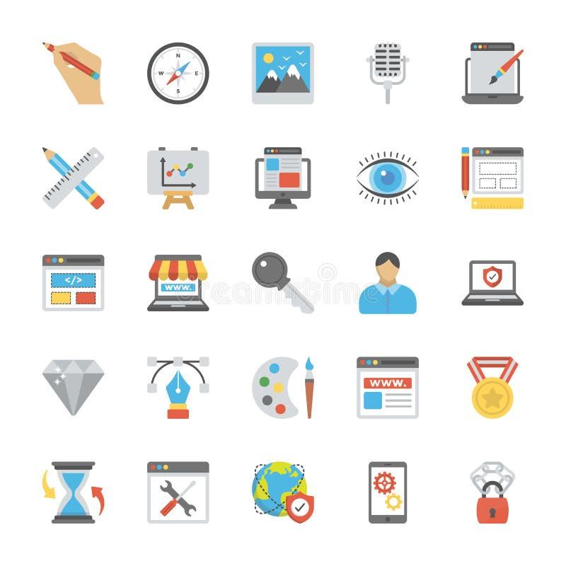 Iconos planos del vector del diseño web stock de ilustración