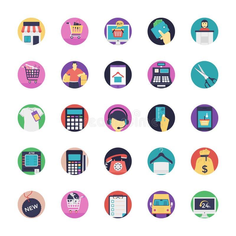 Iconos planos del vector que hacen compras fijados libre illustration