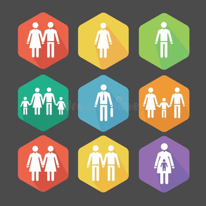 Iconos planos del vector que ilustran las relaciones libre illustration