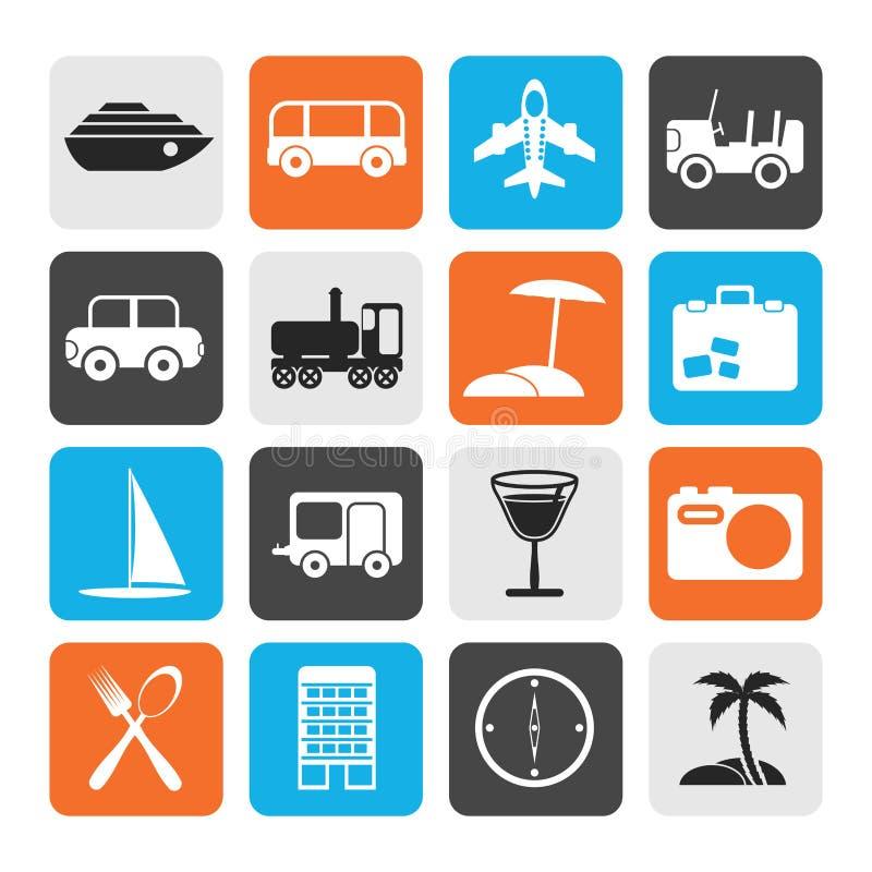Iconos planos del viaje, del transporte, del turismo y del día de fiesta stock de ilustración