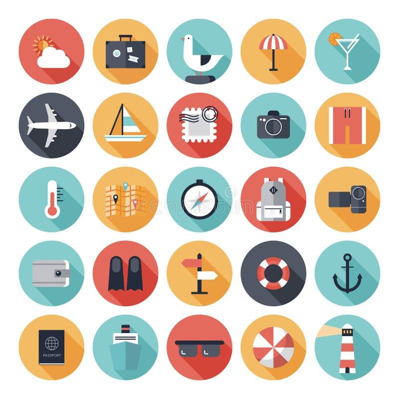 Iconos planos del viaje y de las vacaciones fijados ilustración del vector