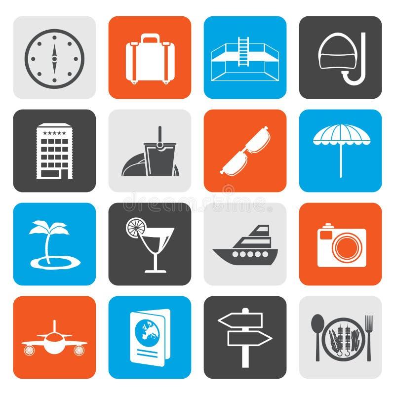 Iconos planos del viaje, del viaje y del turismo libre illustration