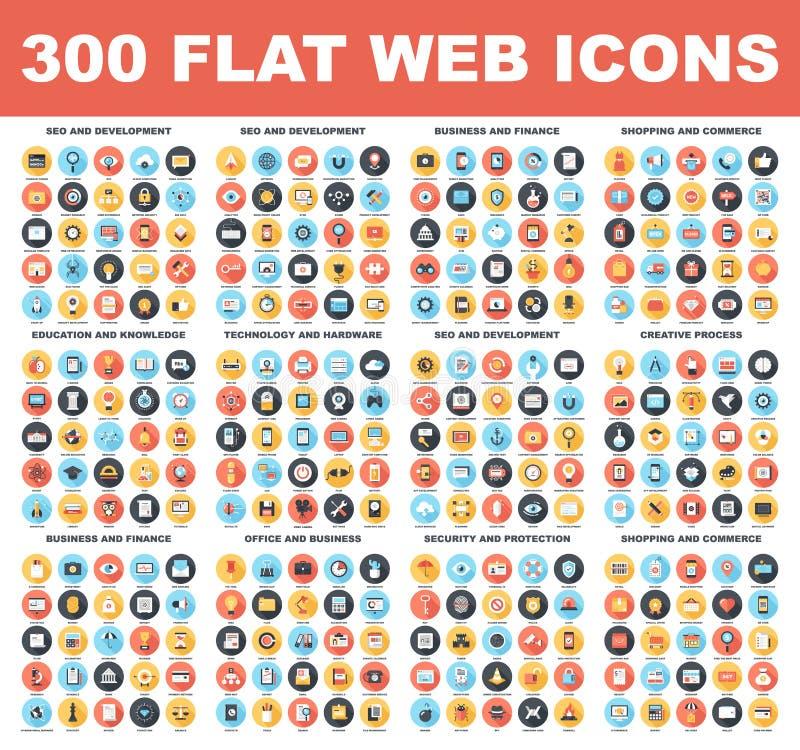 Iconos planos del web ilustración del vector