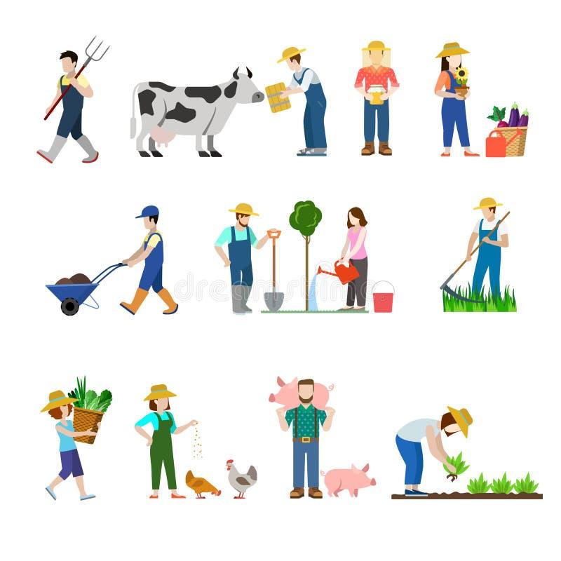 Iconos planos del web de la gente del trabajador del granjero de la profesión de la granja del vector stock de ilustración