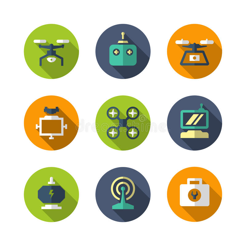 Iconos planos determinados del quadrocopter, del hexacopter, del multicopter y del dron
