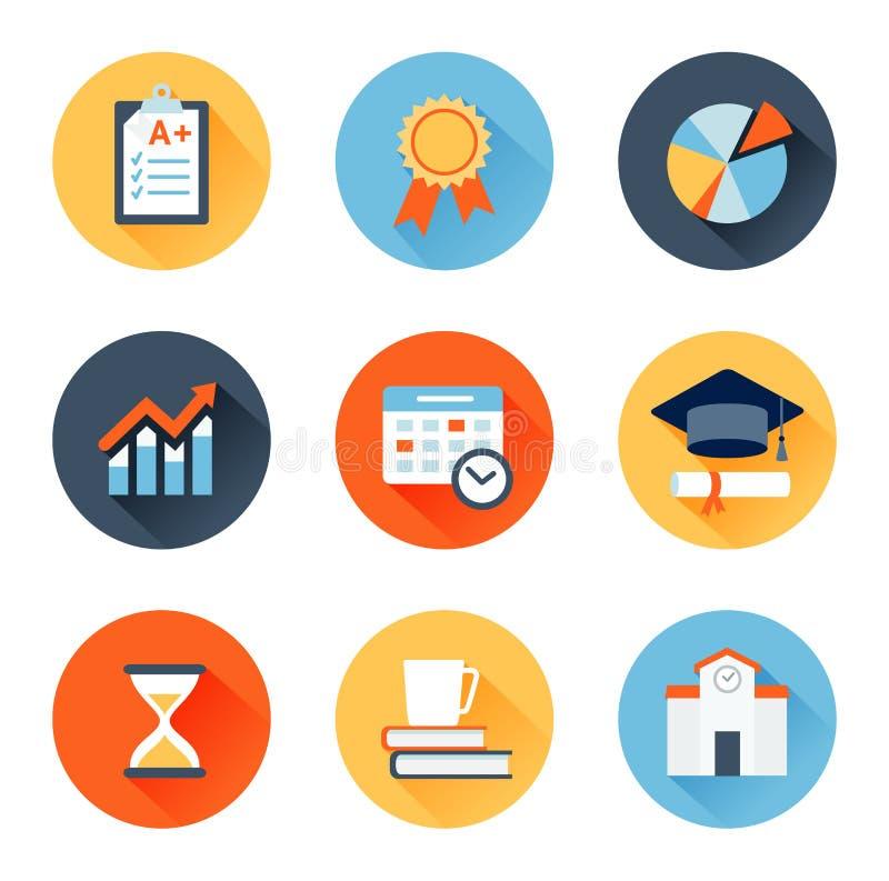 Iconos planos educativos ilustración del vector