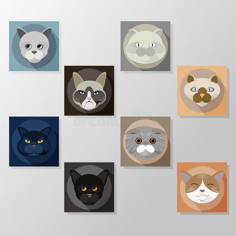 Iconos planos fijados, caracteres de los gatos del ejemplo libre illustration