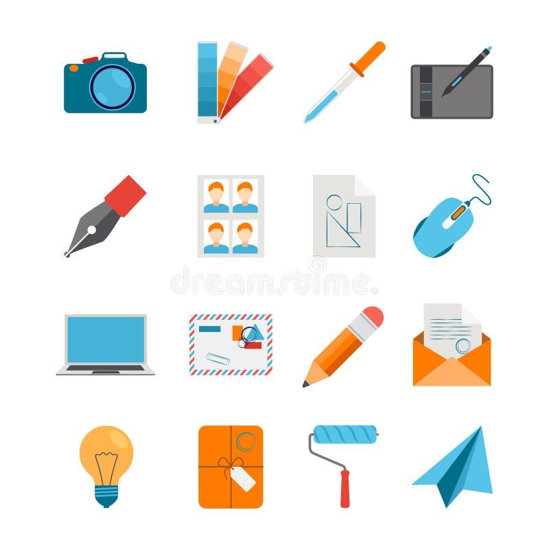 Iconos planos fijados para el web y el diseño gráfico ilustración del vector
