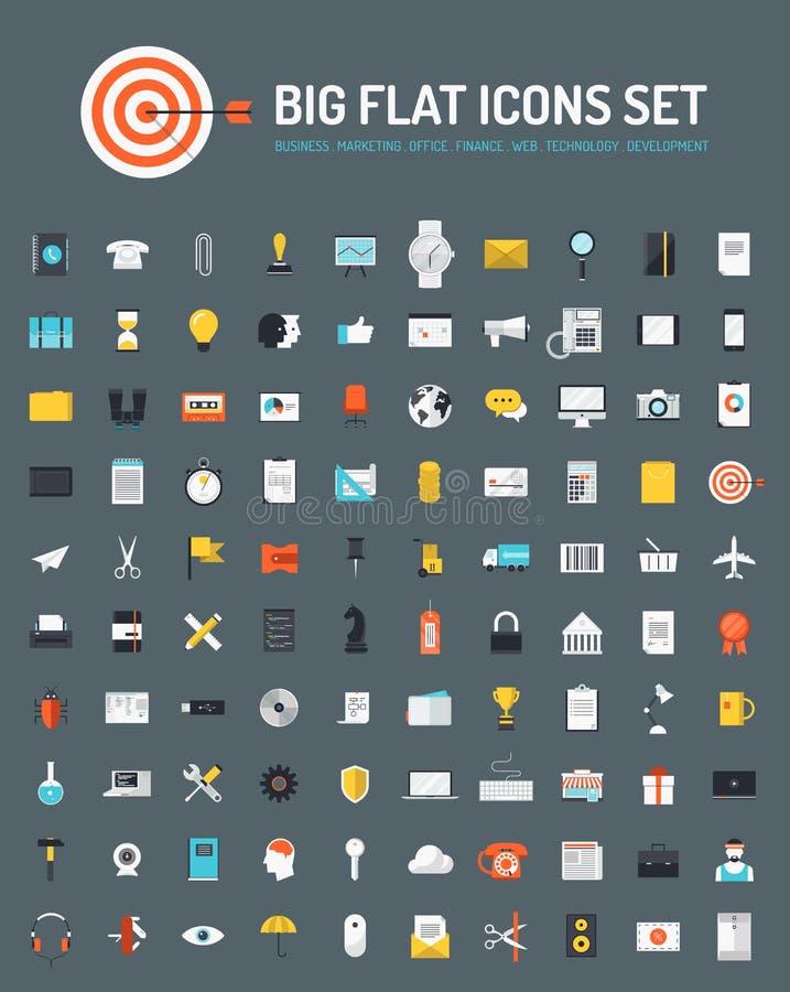 Iconos planos grandes del web y del negocio fijados ilustración del vector