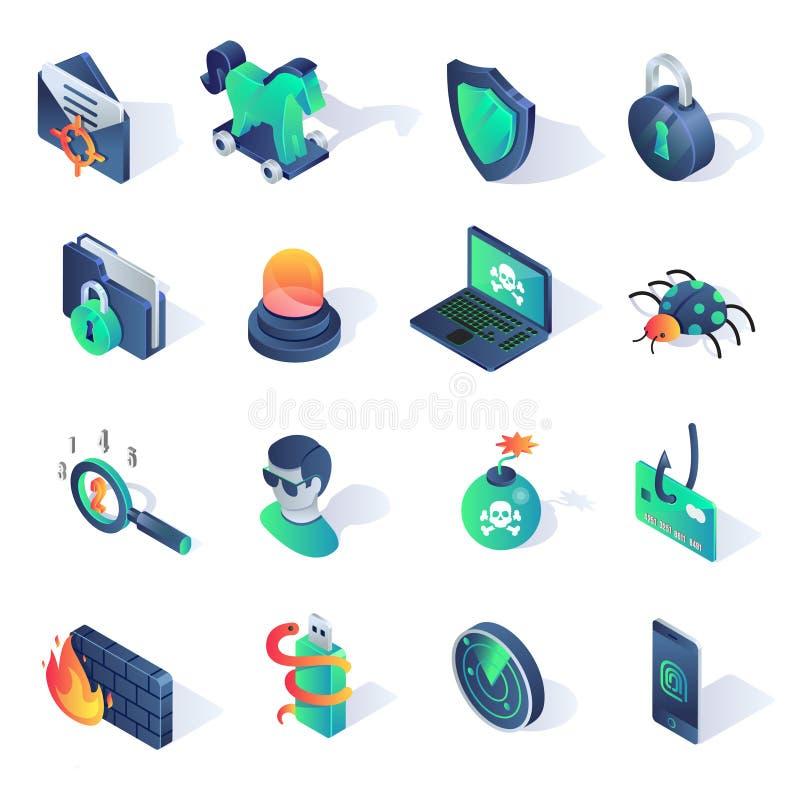Iconos planos isométricos de la seguridad cibernética Ilustración del vector stock de ilustración