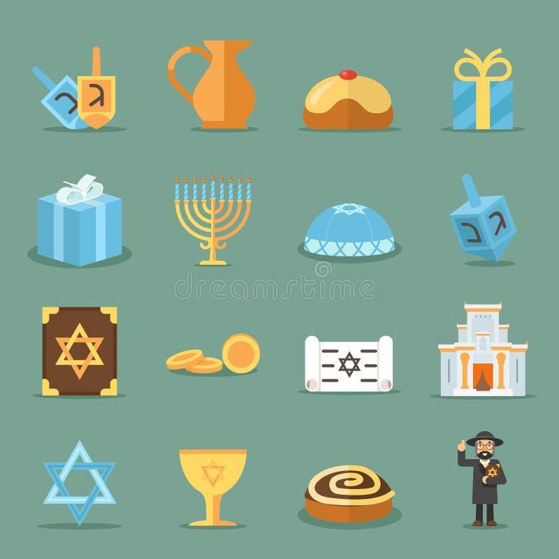 Iconos planos judíos Israel y símbolos del judaísmo con el rabino, sinagoga del torah stock de ilustración