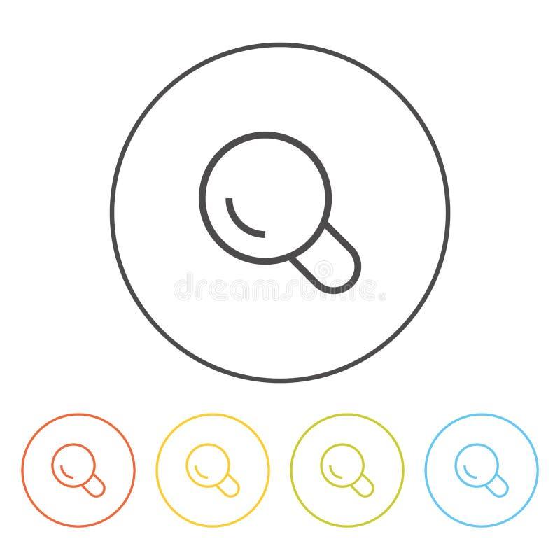 Iconos planos (lupa, búsqueda), ilustración del vector