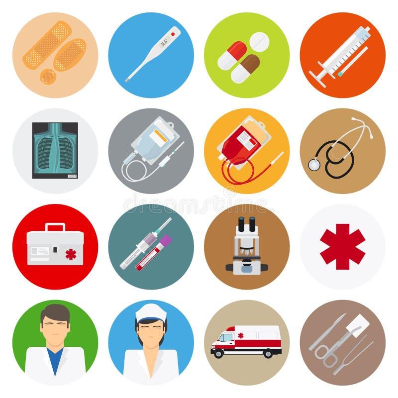 Iconos planos médicos ilustración del vector