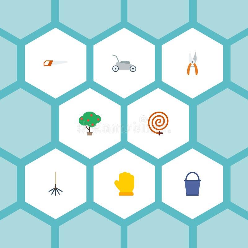 Iconos planos madera verde, cubo, látex y otros elementos del vector El sistema de símbolos planos de los iconos de la horticultu stock de ilustración