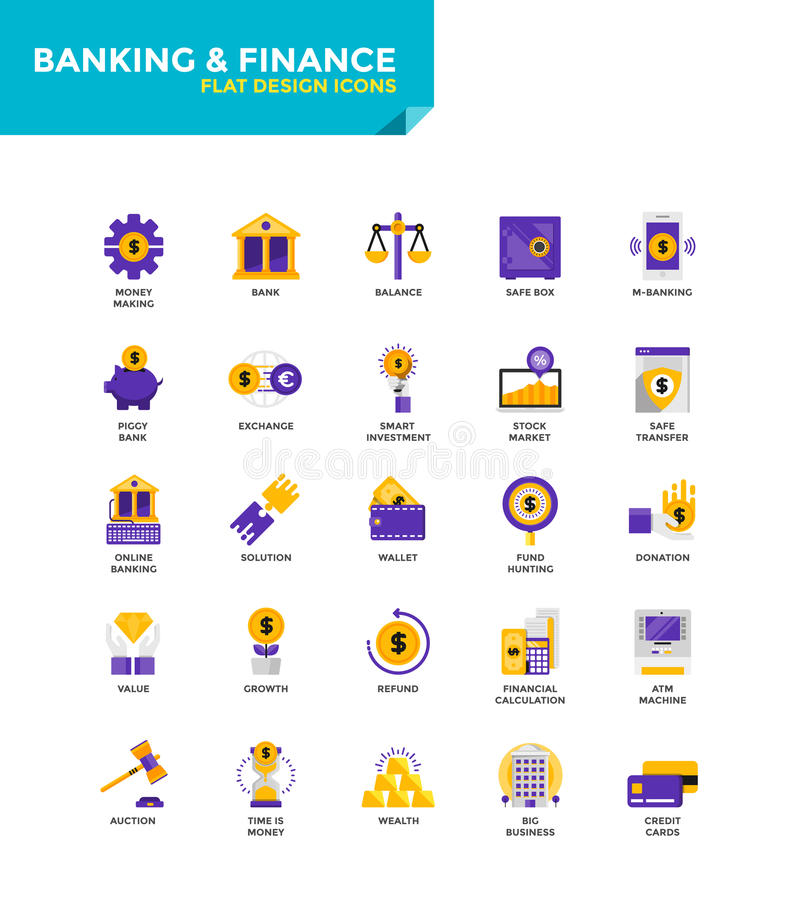 Iconos planos materiales modernos del diseño - actividades bancarias y finanzas libre illustration