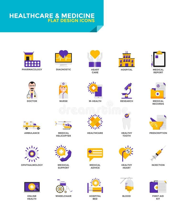 Iconos planos materiales modernos del diseño - atención sanitaria y medicina stock de ilustración