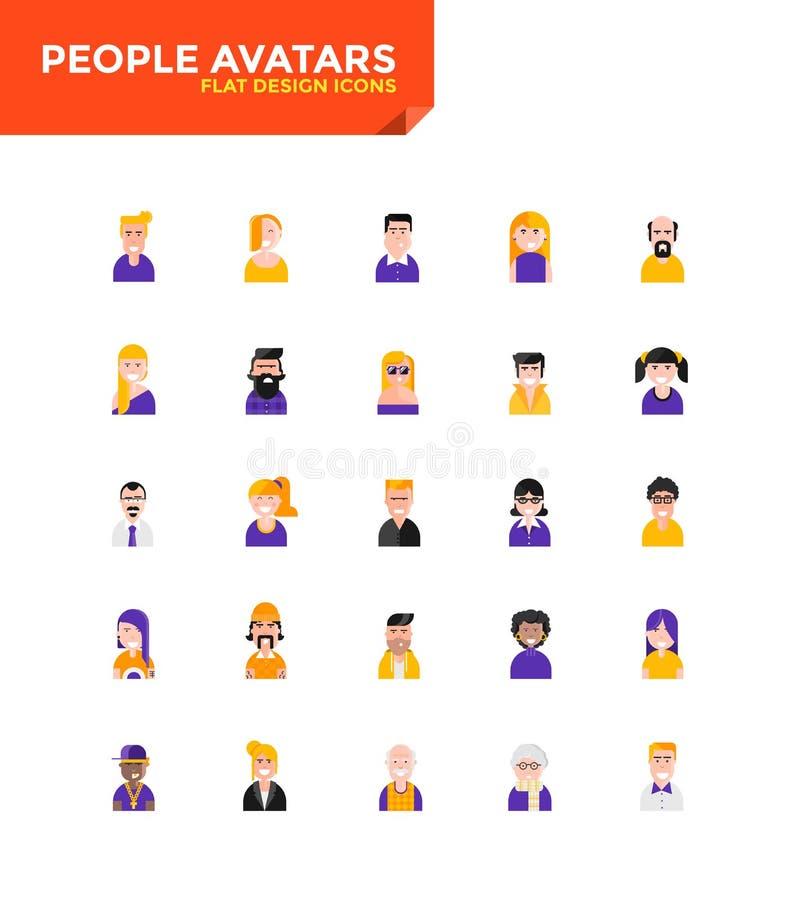 Iconos planos materiales modernos del diseño - avatares de la gente stock de ilustración