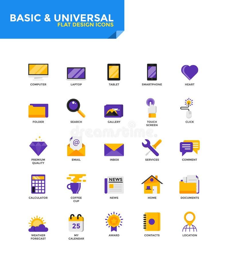 Iconos planos materiales modernos del diseño - básicos y universales ilustración del vector
