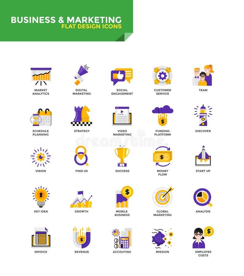 Iconos planos materiales modernos del diseño - negocio y márketing stock de ilustración
