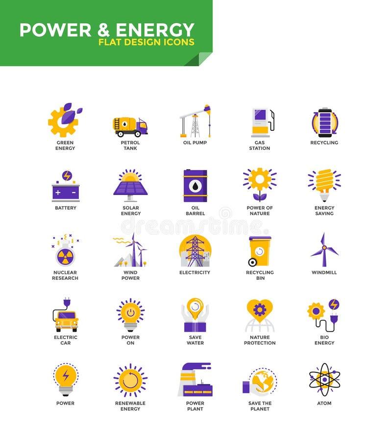 Iconos planos materiales modernos del diseño - poder y energía ilustración del vector