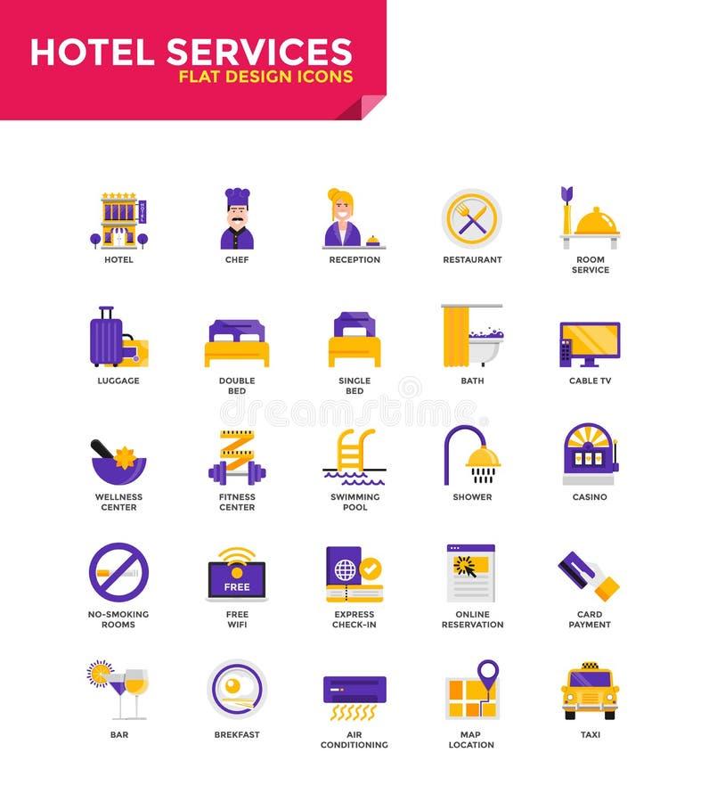 Iconos planos materiales modernos del diseño - servicios de hotel stock de ilustración