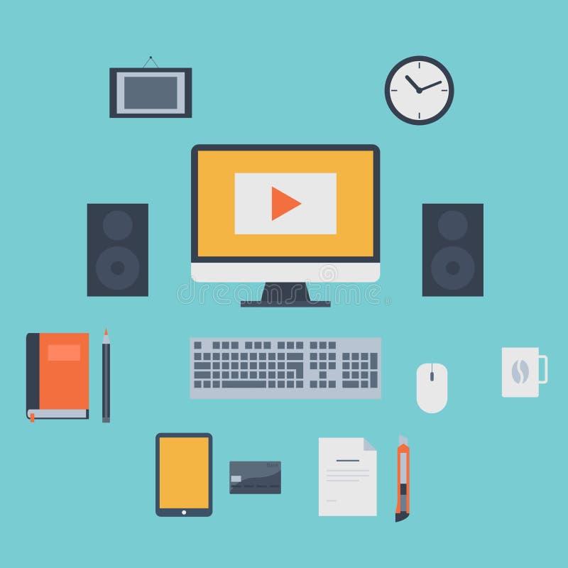 Iconos planos modernos colección, objetos del diseño web, negocio, finanzas, oficina y artículos del márketing libre illustration
