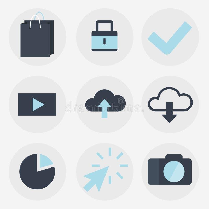 Iconos planos modernos colección, objetos del diseño web, negocio, finanzas, oficina y artículos del márketing stock de ilustración