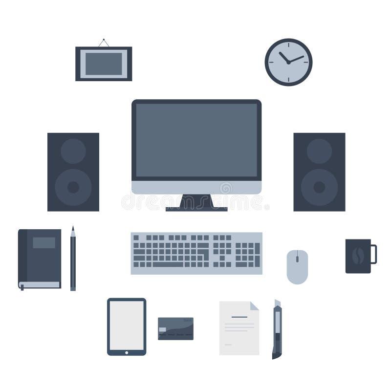 Iconos planos modernos colección, objetos del diseño web, negocio, finanzas, oficina y artículos del márketing ilustración del vector