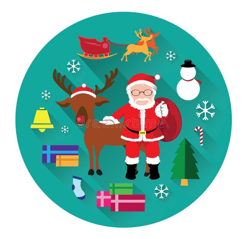 Iconos planos modernos del día de Papá Noel y de la Navidad libre illustration