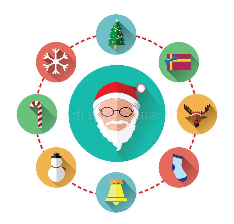 Iconos planos modernos del día de Papá Noel y de la Navidad stock de ilustración