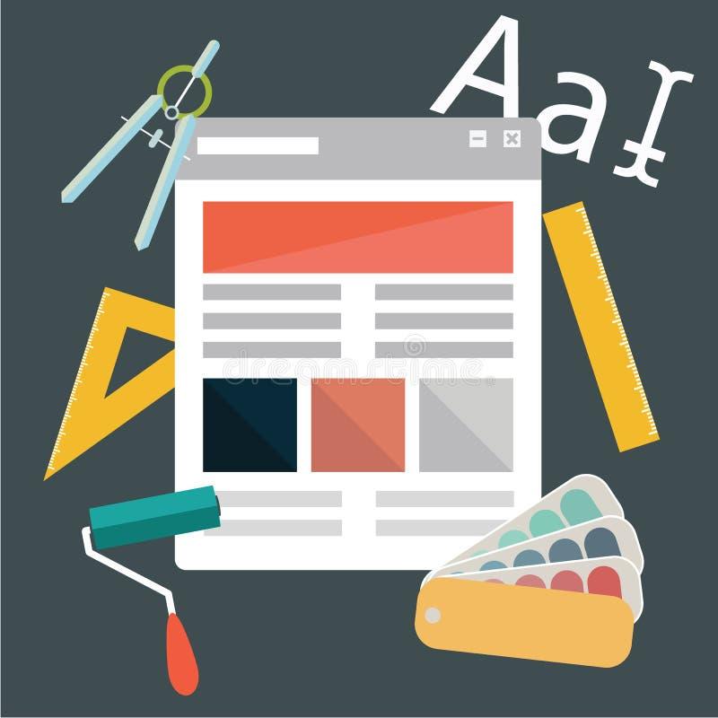 Iconos planos modernos del diseño en tema del desarrollo del diseño Iconos para el diseño gráfico, diseño web, calificando, diseñ libre illustration