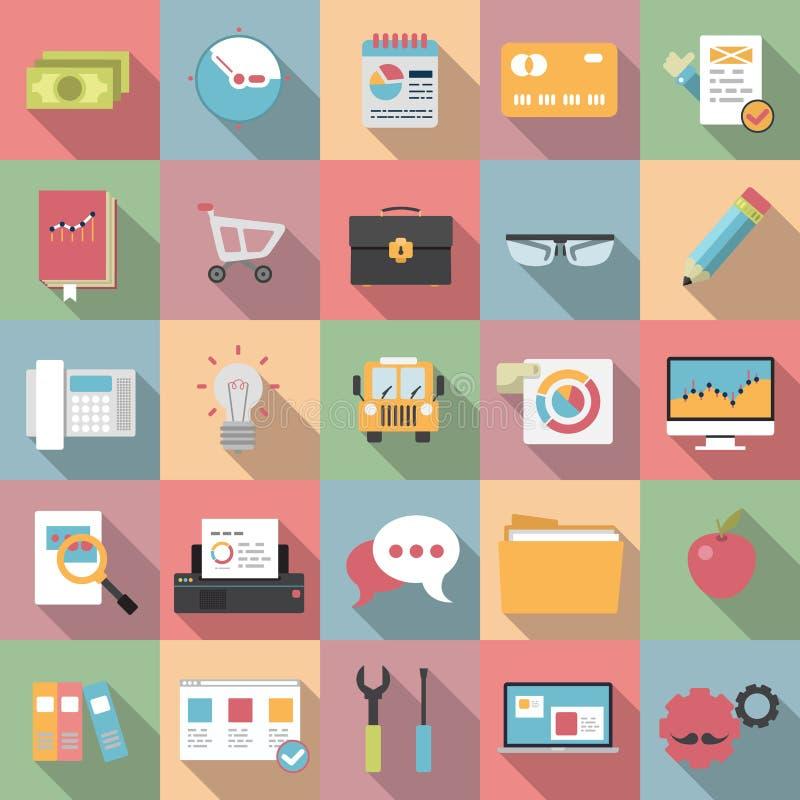 Iconos planos modernos del negocio con estilo largo de la sombra libre illustration