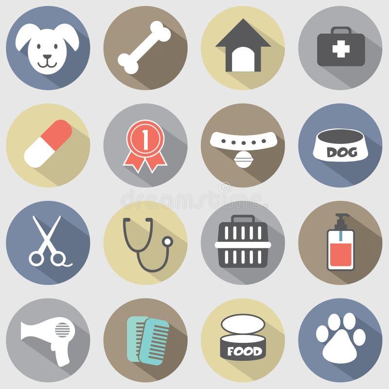 Iconos planos modernos del perro del diseño fijados ilustración del vector
