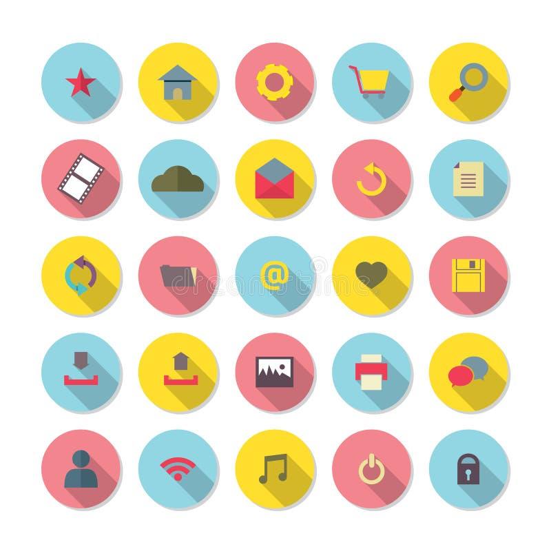 Iconos planos modernos del sitio web del diseño fijados ilustración del vector
