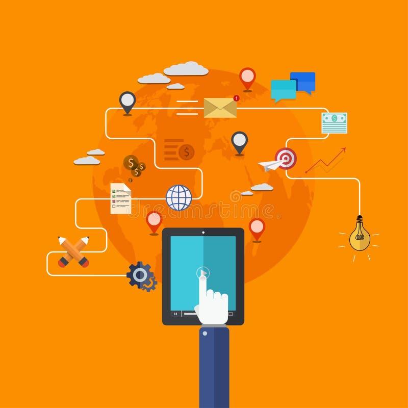 Iconos planos modernos del vector fijados. servicios móviles. libre illustration