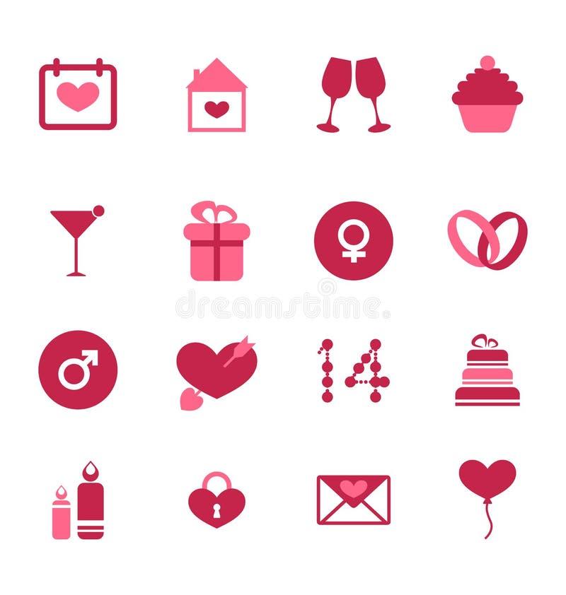 Iconos planos modernos para el día de tarjetas del día de San Valentín, elementos del diseño, aislados ilustración del vector