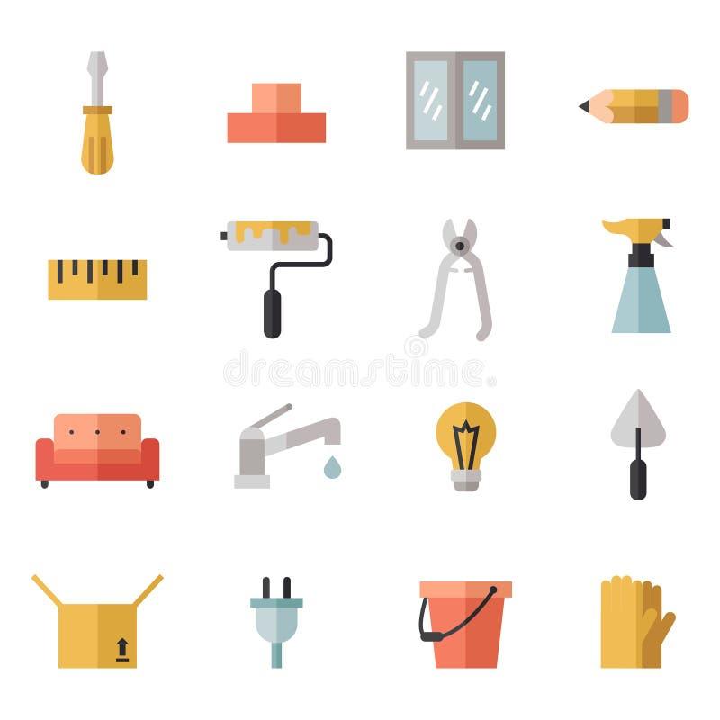 Iconos planos multicolores caseros de la reparación y de la construcción fijados Diseño de Minimalistic Parte dos ilustración del vector