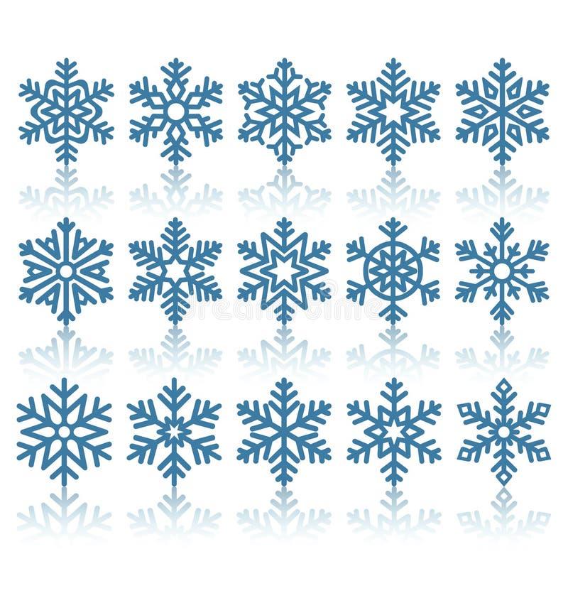 Iconos planos negros de los copos de nieve con la reflexión en blanco ilustración del vector