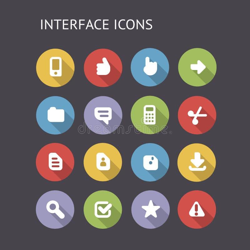 Iconos planos para el interfaz ilustración del vector