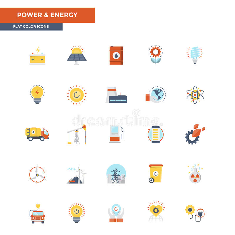 Iconos planos poder y energía del color libre illustration