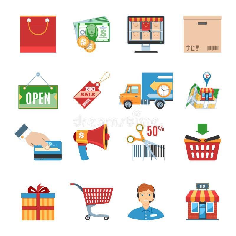Iconos planos que hacen compras fijados stock de ilustración